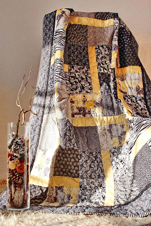 Лоскутное одеяло покрывало в стиле лофт фото.  Цвет черный, серый, белый, желтый. Мастер Lady Olga (пэчворк в интерьере), Ольга