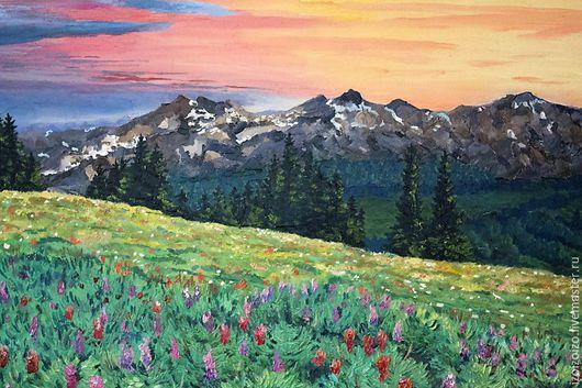 Пейзаж ручной работы. Ярмарка Мастеров - ручная работа. Купить Горы.. Handmade. Разноцветный, горы, вечер, закат, цветы, елка