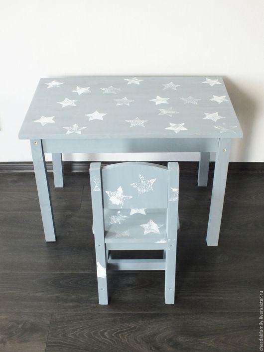 """Детская ручной работы. Ярмарка Мастеров - ручная работа. Купить Детский стол """"звездный"""". Handmade. Серый, стол, стол для дачи"""