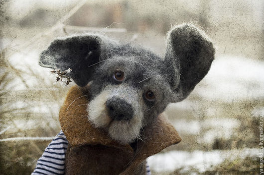 Собака-игрушка-из шерсти, собака игрушка, войлочная собака,собака, игрушечная собака, сухое валяние, игрушка ручной работы
