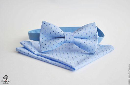 Галстуки, бабочки ручной работы. Ярмарка Мастеров - ручная работа. Купить Бабочка + нагрудный платок голубой с мелким рисунком, бабочка жениха. Handmade.