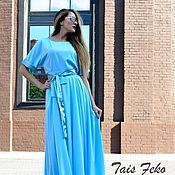 Одежда ручной работы. Ярмарка Мастеров - ручная работа Комплект блуза +юбка Maxi небесно голубого цвета.. Handmade.