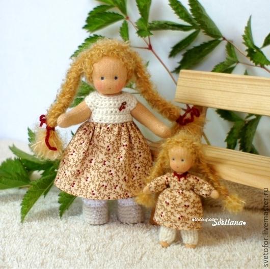Вальдорфская игрушка ручной работы. Ярмарка Мастеров - ручная работа. Купить Малышка с кукленком, 13 см и 7 см. Handmade.