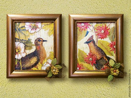 Репродукции ручной работы. Ярмарка Мастеров - ручная работа. Купить Две картины Птицы в саду. Handmade. Картины и панно