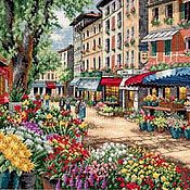 """Картины и панно ручной работы. Ярмарка Мастеров - ручная работа Вышитая картина""""Парижский рынок"""". Handmade."""