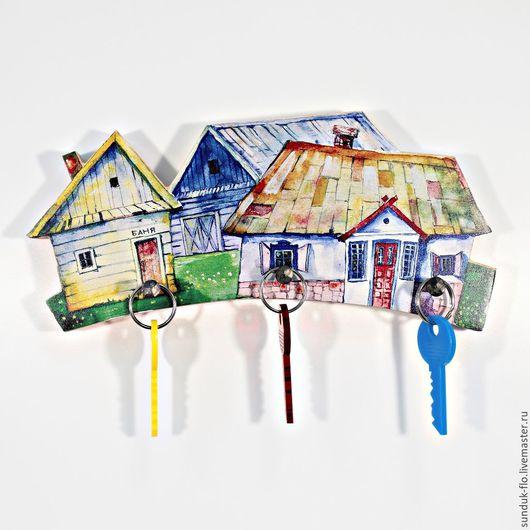 """Прихожая ручной работы. Ярмарка Мастеров - ручная работа. Купить Ключница настенная """"Домик с баней"""". Handmade. Комбинированный, ключница в прихожую"""