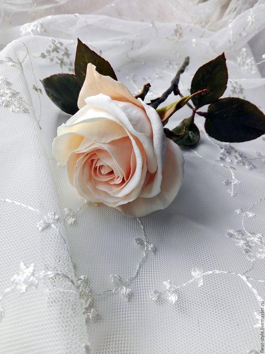 """Цветы ручной работы. Ярмарка Мастеров - ручная работа. Купить Интерьерная роза """" Шарлиз"""". Handmade. Кремовый, экрю, пудровый"""
