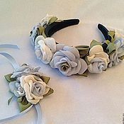 """Диадемы ручной работы. Ярмарка Мастеров - ручная работа Ободок и браслет """"Голубые розы"""" Комплект из роз ручной работы. Handmade."""