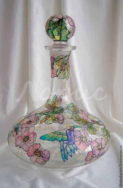 Графины, кувшины ручной работы. Ярмарка Мастеров - ручная работа. Купить Сосуд графин декантер для вина Райские птички. Handmade.