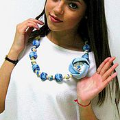 Necklace handmade. Livemaster - original item beads jeans knitted with fabric flower and lace jeans. Handmade.