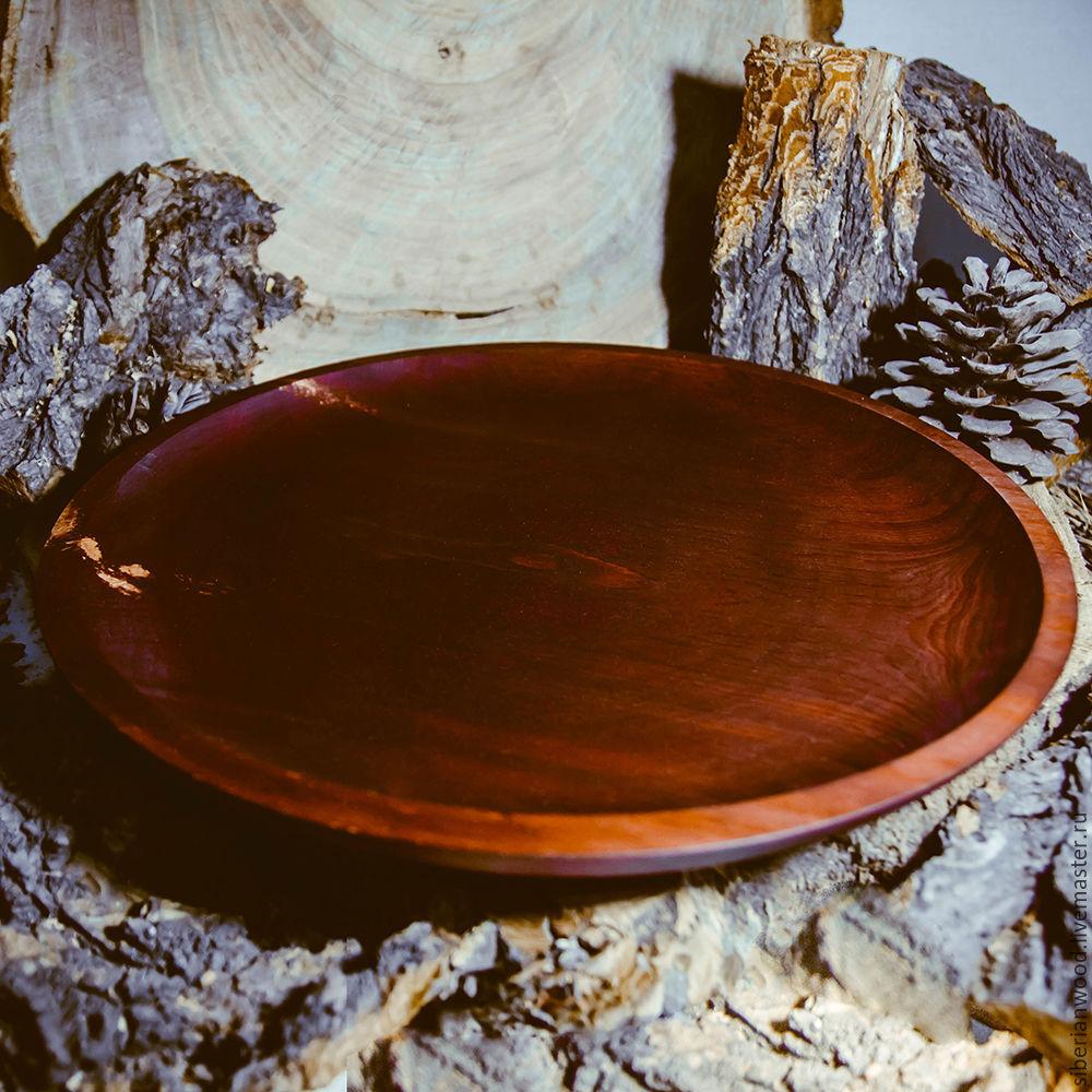 Деревянная тарелка- поднос из древесины кедра 330мм. T43, Тарелки, Новокузнецк,  Фото №1