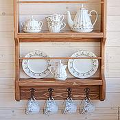 """Для дома и интерьера ручной работы. Ярмарка Мастеров - ручная работа """"Богема"""", Настенная открытая деревянная полка на кухню для посуды. Handmade."""