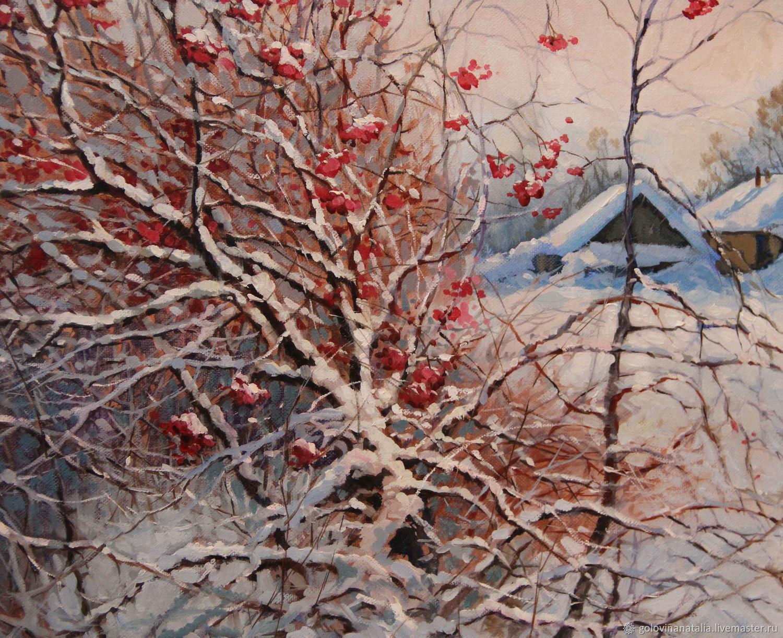 Картина маслом, зимний пейзаж, Калина красная, Пейзаж, Рязань, Фото №1
