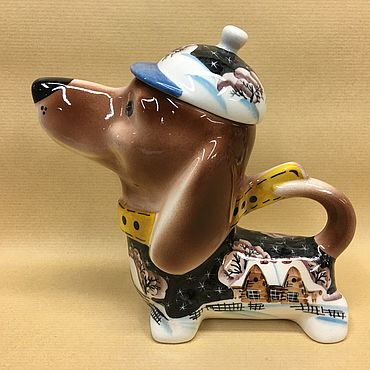 Tableware handmade. Livemaster - original item Dachshund Winter Village Night Porcelain Teapot. Handmade.
