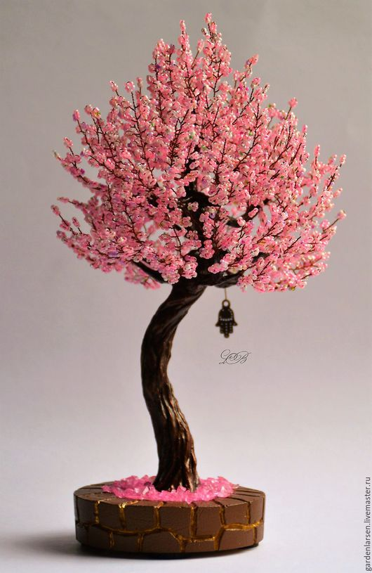 Деревья ручной работы. Ярмарка Мастеров - ручная работа. Купить Дерево из бисера. Сакура.. Handmade. Розовый, подарок на любой случай