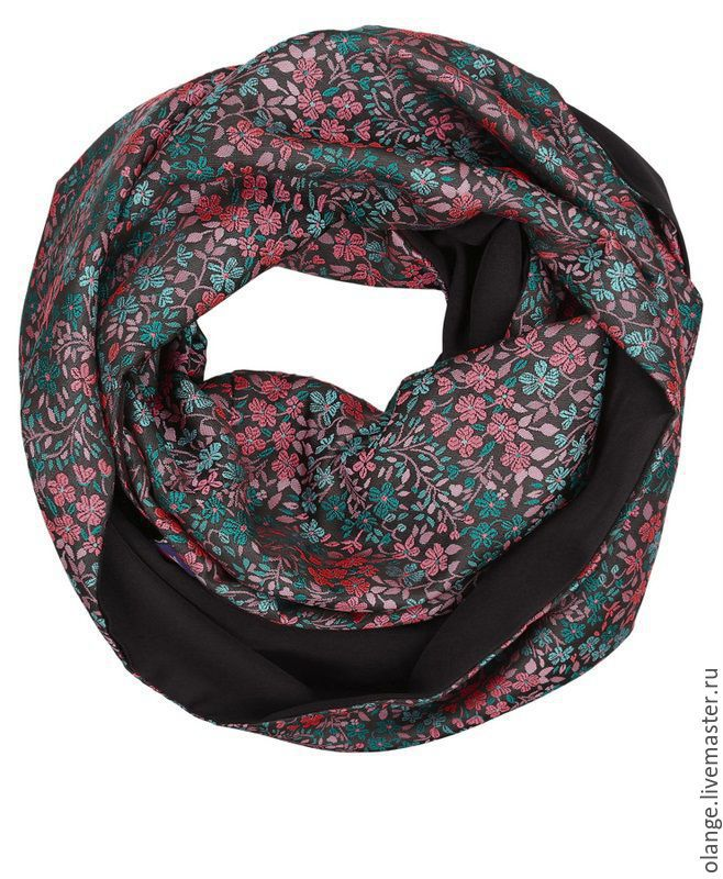 8-1216/307vip Combined bilateral scarf-Snood; `eight`; worn in two turns; was created from solid elastic-knit and satin-jacquard with stylish pattern (embossed weave)
