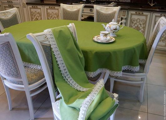 """Текстиль, ковры ручной работы. Ярмарка Мастеров - ручная работа. Купить Скатерть """"Версаль"""". Handmade. Тёмно-зелёный, кружево"""