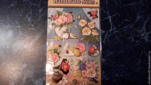Открытки и скрапбукинг ручной работы. Ярмарка Мастеров - ручная работа. Купить Набор наклеек 3D Цветы 223. Handmade. Разноцветный