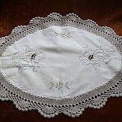 Винтаж handmade. Livemaster - original item A sophisticated napkin with embroidery and crochet lace,Germany. Handmade.