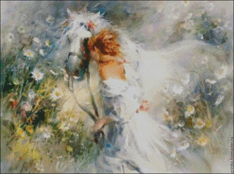 Вышивки крестом девочка и лошадь