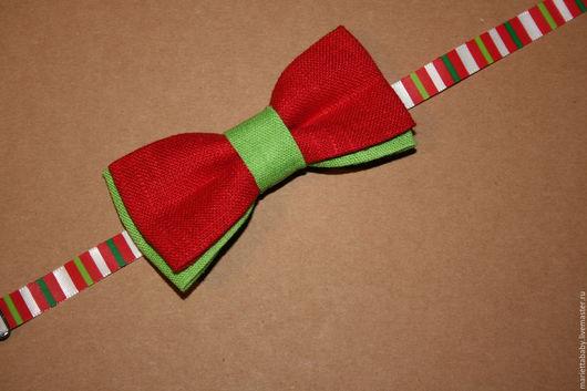 Детские аксессуары ручной работы. Ярмарка Мастеров - ручная работа. Купить Новогодние галстуки-бабочки. Handmade. Зеленый цвет