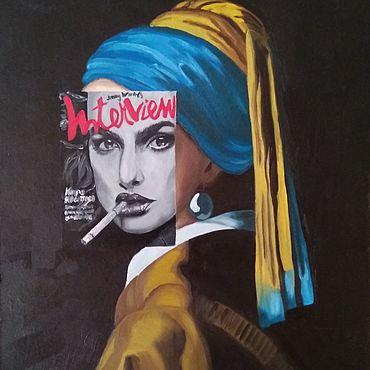 """Картины и панно ручной работы. Ярмарка Мастеров - ручная работа """"Девушка с жемчужной серёжкой #2"""". Handmade."""