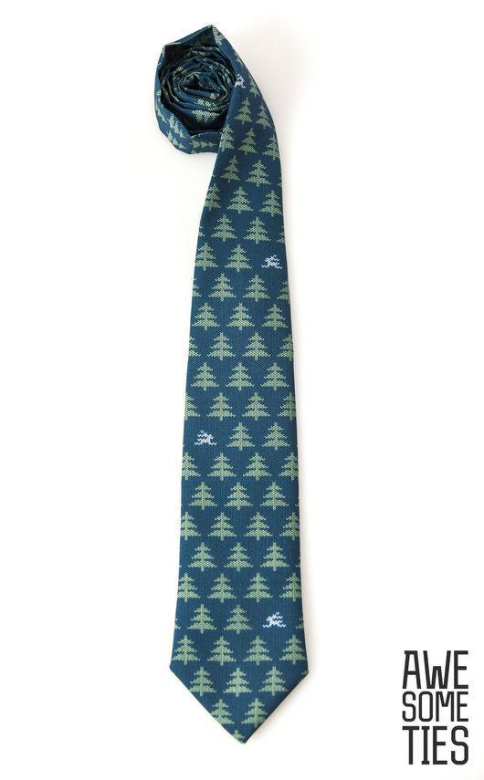 """Галстуки, бабочки ручной работы. Ярмарка Мастеров - ручная работа. Купить Новогодний галстук """"Зайцы"""", подарок на новый год. Handmade."""