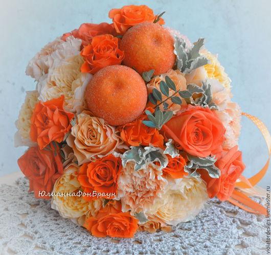 """Свадебные цветы ручной работы. Ярмарка Мастеров - ручная работа. Купить свадебный букет для невесты """"АПЕЛЬСИНОВЫЙ"""". Handmade. Оранжевый, флористика"""