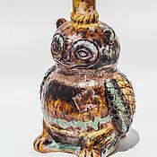 Вазы ручной работы. Ярмарка Мастеров - ручная работа Бутыль Сова керамическая. Handmade.