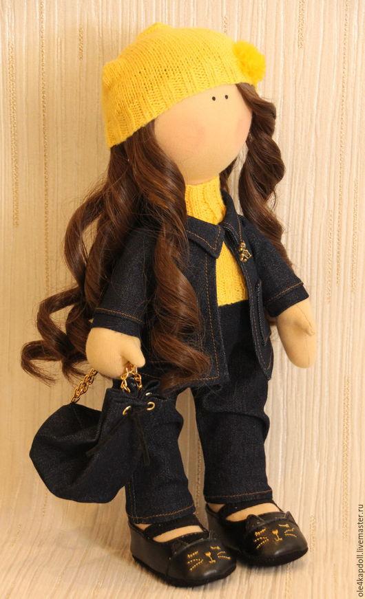 """Куклы тыквоголовки ручной работы. Ярмарка Мастеров - ручная работа. Купить Авторская кукла """"Модница в джинсе"""". Handmade. Синий, подарок"""