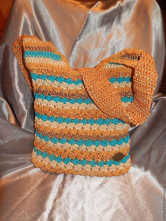 Женские сумки ручной работы. Ярмарка Мастеров - ручная работа. Купить Вязаная сумка В полоску. Handmade. Разноцветный