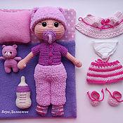 Мягкие игрушки ручной работы. Ярмарка Мастеров - ручная работа Кукла Ляля. С 2 комплектами одежды, постелькой и мишкой. Игровой набор. Handmade.