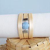 Браслет из бусин ручной работы. Ярмарка Мастеров - ручная работа Светлый браслет на каждый день из кожи с аквамарином. Handmade.