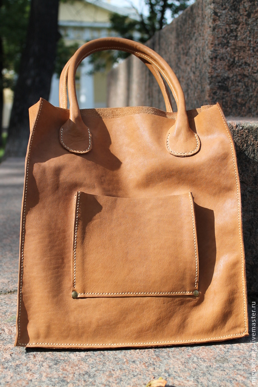 Женские сумки ручной работы. Ярмарка Мастеров - ручная работа. Купить светло-коричневая сумка с карманом. Handmade. Коричневый