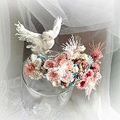 Hard bracelet handmade. Livemaster - original item Narrow bracelet Delicate pink flowers. White nature. pearls, leather, beads. Handmade.