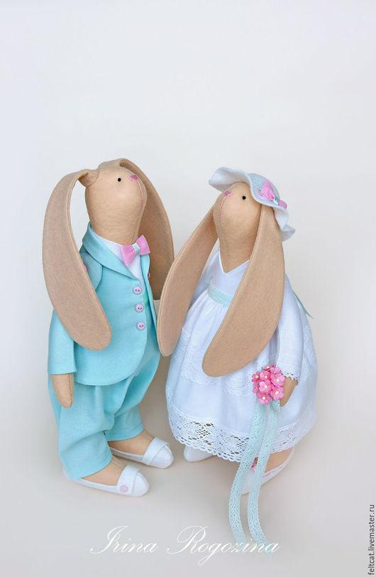 """Подарки на свадьбу ручной работы. Ярмарка Мастеров - ручная работа. Купить """"Мята и роза"""" свадебные зайцы в подарок на свадьбу. Handmade."""