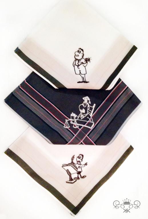 Носовые платочки ручной работы. Ярмарка Мастеров - ручная работа. Купить Носовые платки мужские по индивидуальном рисункам Монограмма. Handmade.