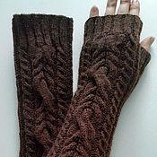 Митенки ручной работы. Ярмарка Мастеров - ручная работа Митенки длинные 158 коричневые, 26. Handmade.