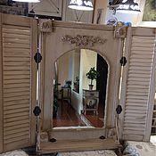 Для дома и интерьера ручной работы. Ярмарка Мастеров - ручная работа Зеркало со ставнями и полочкой в стиле Прованс. Handmade.