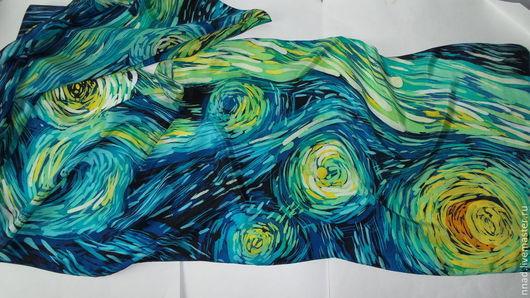 """Шарфы и шарфики ручной работы. Ярмарка Мастеров - ручная работа. Купить Батик шарф шелковый """"Звездная ночь"""". Handmade. картина"""