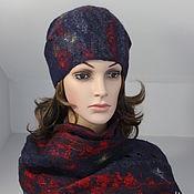 Комплект валяный темно синий шапочка и шарф Мои фантазии