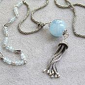 handmade. Livemaster - original item Silver necklace with aquamarine Twist (aquamarines, 925 silver). Handmade.