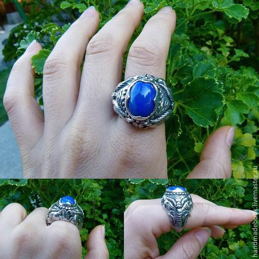 Кольца ручной работы. Ярмарка Мастеров - ручная работа. Купить Перстень Ганеша выпуклый УНИСЕКС  лазуритом и кораллом из серебра. Handmade.