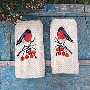 Аксессуары handmade. Livemaster - original item Handmade fingerless wool gloves with a Bullfinch picture. Handmade.