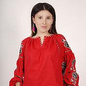 Одежда ручной работы. Ярмарка Мастеров - ручная работа Вышитая туника красное платье лен, вышиванка бохо стиль , Bohemian. Handmade.