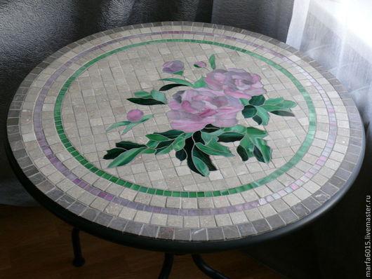 """Мебель ручной работы. Ярмарка Мастеров - ручная работа. Купить """"Пионы"""" дачный стол с мозаикой. Handmade. Серый, интерьер"""