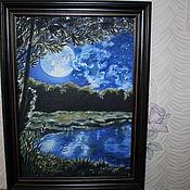 """Картины и панно ручной работы. Ярмарка Мастеров - ручная работа Картина маслом """"Лунная ночь"""". Handmade."""
