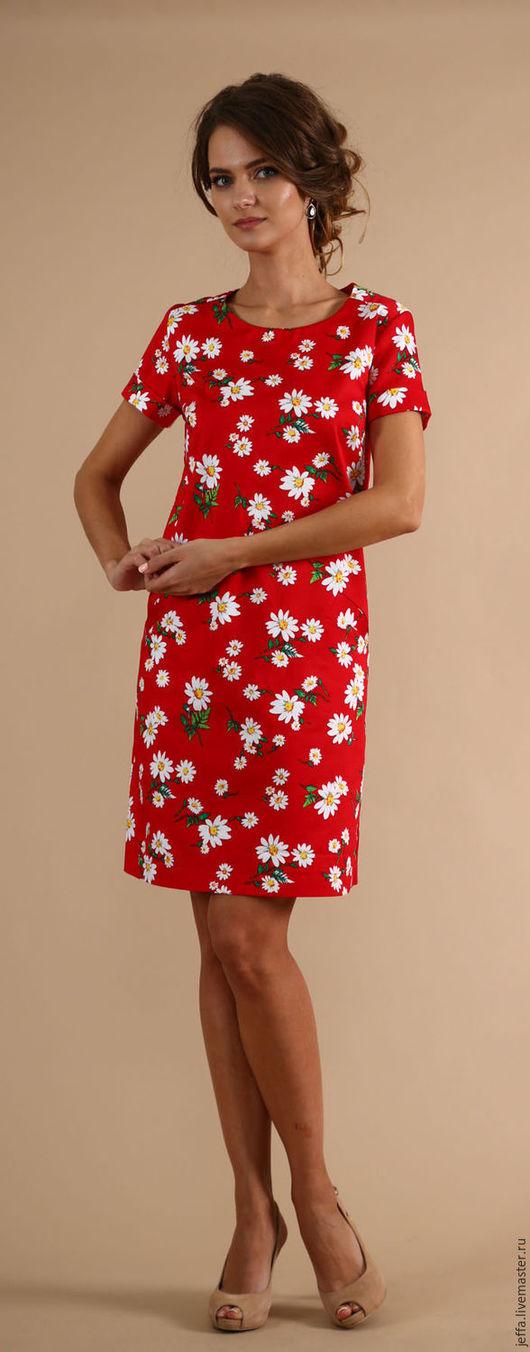 Платья ручной работы. Ярмарка Мастеров - ручная работа. Купить Платье Ромашка красная арт.5127. Handmade. Ярко-красный