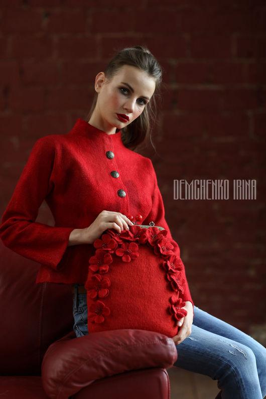 Пиджаки, жакеты ручной работы. Ярмарка Мастеров - ручная работа. Купить Валяный жакет «Red». Handmade. Ярко-красный