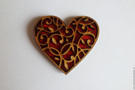 Подарки для влюбленных ручной работы. Ярмарка Мастеров - ручная работа. Купить Магнит Сердце узорное (цветное). Handmade. Магнит из дерева